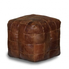 Bean Bag Cube in Brown Cerato Leather