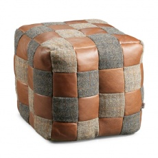 Bean Bag Harris Tweed & Brown Leather Patchwork