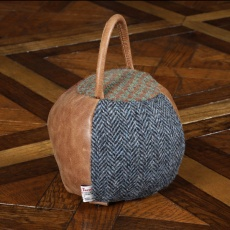 Doorstop Round HTP/Leather Patchwork