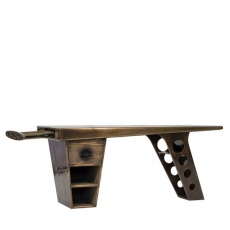 Aviator Half Wing Desk in Vintage Jet Brass