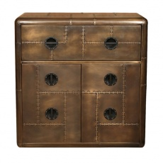 Aviator Chest Desk in Vintage Jet Brass