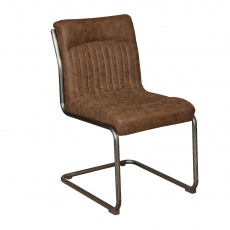 Hipster Retro Dining Chair in Vintage Brown Faux Leather