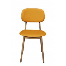 Bari Dining Chair - Upholstered seat and back - Saffron/Mustard Velvet