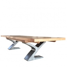Windermere Rustic Monastery Ext. Table - Smoked Oak Top with Metal Legs