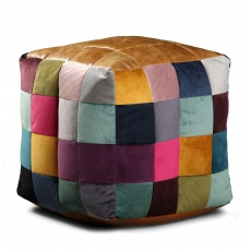 Bean Bag Cube - Leather Top, Mixed Wool and Fabric