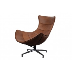 Costello Chair Brown Leather (base matt Satin finish)