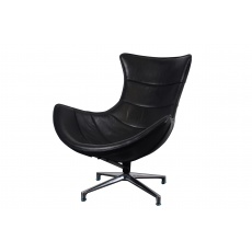 Costello Chair Black Leather (base matt Satin finish)