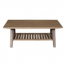 Boardwalk - Distressed Pine Coffee Table with Slatted Shelf