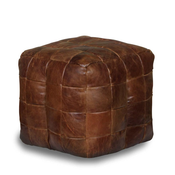 vintage Bean Bag Cube in Brown Cerato Leather