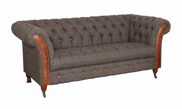 vintage Chester Club 3 Seater Sofa -Moreland Harris Tweed - Fast Track Delivery