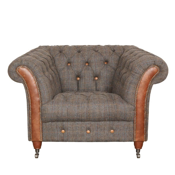 vintage Chester Club Chair - Moreland Harris Tweed - Fast Track Delivery