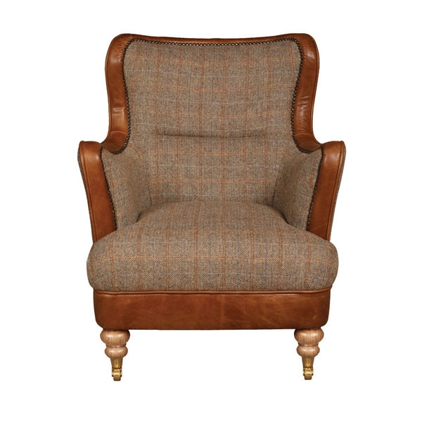 vintage Ellis Snug Chair - Hunting Lodge Harris Tweed - Fast Track Delivery