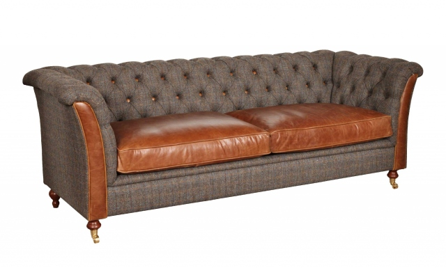 vintage Granby 2 Seater Sofa - Moreland Harris Tweed - Fast Track Delivery