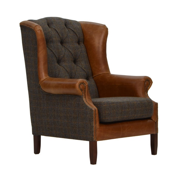 vintage Wing Armchair - Moreland Harris Tweed - Fast Track Delivery