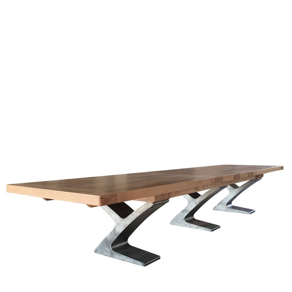 Carlton Windermere (special order) Rustic Monastery Ext. Table  - Smoked Oak Top with Metal Legs