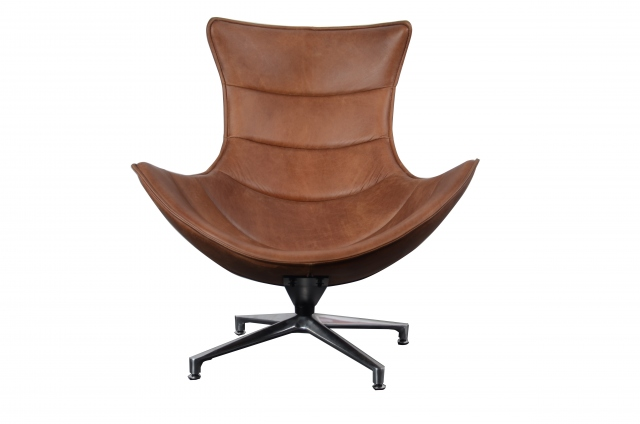 Carlton Costello Chair Brown Leather (base matt Satin finish)