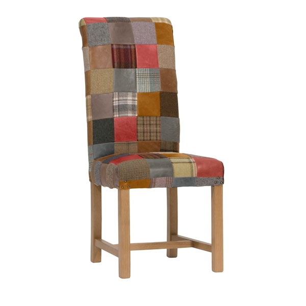 Carlton Rollback Patchwork Chair Leather Mix & Wool Mix