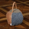 vintage Doorstop Round HTP/Leather Patchwork